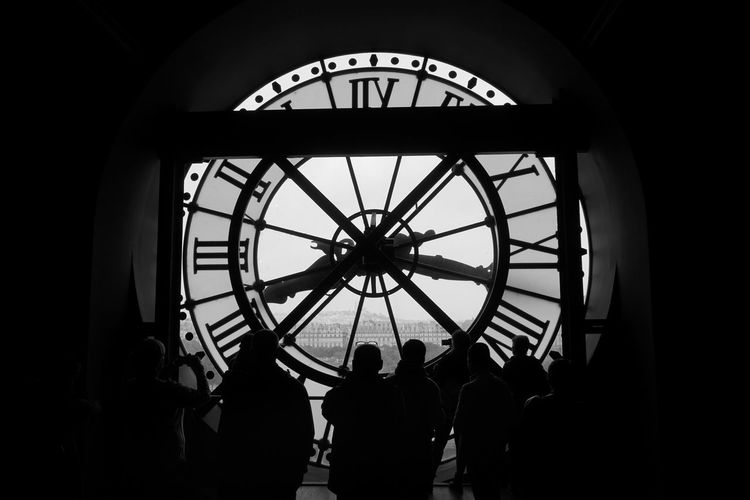 Backlight B&w Clock Clock Face Clock Tower Hour Hand Inside Clock Inside View Silhouette