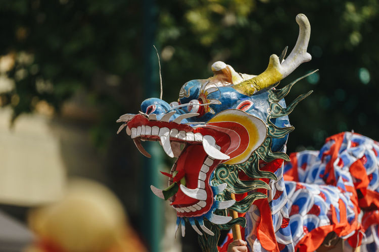 Close-up of Chinese Dragon , Bendigo, Victoria, Australia. Australia Bendigo Dragon Victoria Animal Representation Art And Craft Chinese Chinese Culture Chinese Dragon Chinese New Year Close-up Craft Creativity Day Dragon Festival Focus On Foreground Multi Colored No People Outdoors Puppet Representation Sculpture Street Festival