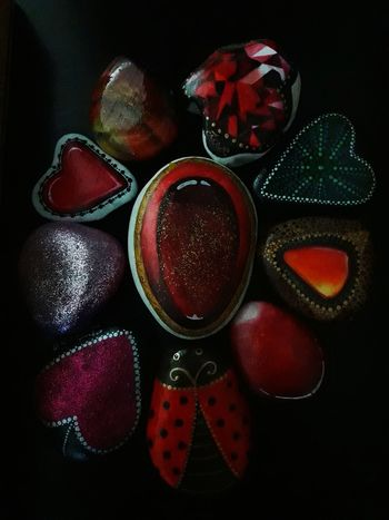 Painted Stones Stone Art Painted Pebbles Red Stones Stone Painting Beach Pebbles Colour Red Red Colour Colourful Black Background Table Variation Close-up Heart Shape Colorful