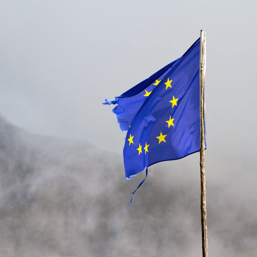 Patriotism Environment Flag Blue Sky Wind Nature Shape Low Angle View No People Star Shape Day Outdoors Yellow Cloud - Sky Pride Waving Mountain National Icon European Union Flag Of European Union Eu Wooden Pole Worn Out Simple