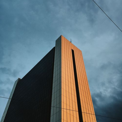 Architecture Berlin City Cloudy Lowlight Building Exterior Built Structure Dusk Evening Highrisebuilding Illuminated Low Angle View Office Building Orange Light Sunset 17.62°