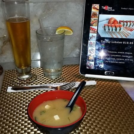 having a delicious Kirin Ichiban about to get my Sushi fix. By myself in FtLauderdale