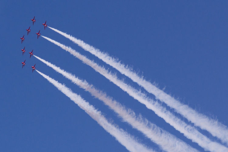 Airplane Plane Planes Acrobatic Flight Red Arrows Red Arrows Air Display Air Festival Teamwork Color Palette Colour Of Life Speed Skill  Flying Means Of Transport Blue Sky Airborne