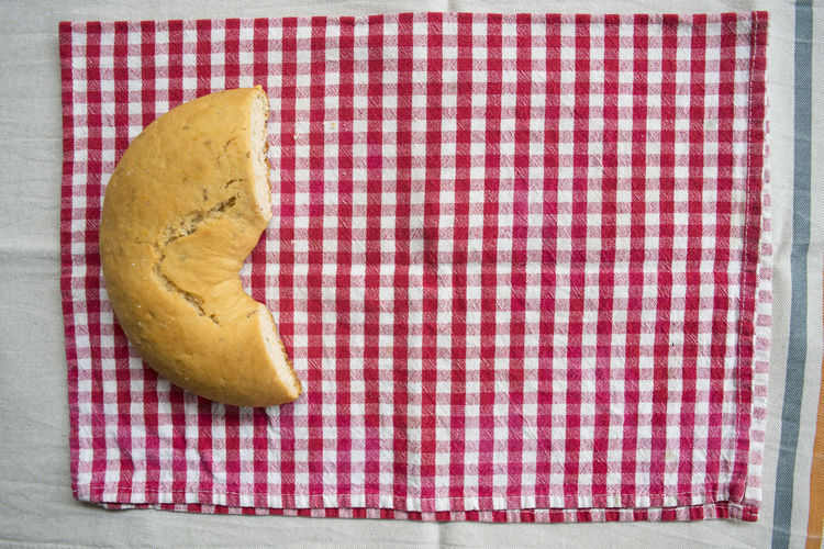 frisella of Bari Bari Apulian Baked Biscuit Bread Crisp Cut Half Frisella Still Life Tablecloth