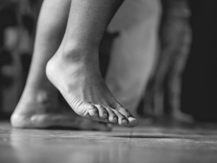 Dancing Feet Dancing Feet Close-up Indoors  Adult Black And White