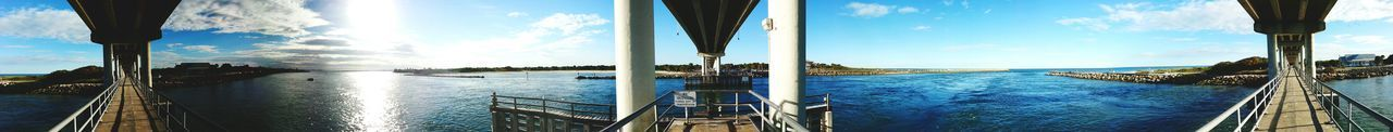 Outdoors No People Sabastian Inlet Winter Florida Panaramic Complete Circle Sky Blue Bridge Lines Shadows & Lights Sun