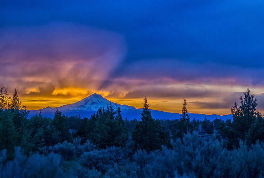 Sunset over Mt Jefferson, Oregon Beauty In Nature Blue Sky And Clouds Central Oregon Cloud - Sky Day Landscape Mountain Mt Jefferson Nature No People Oregon Outdoors Scenics Sky Snow Sunset Tranquil Scene Tranquility Tree Winter