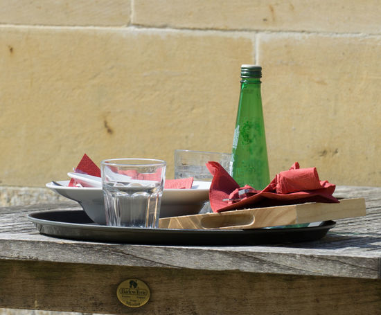 After Lunch Green Red Tray Architecture Bottle Close-up Day Drink Drinking Glass Food Food And Drink Freshness Glass Indoors  Napkin No People Plate Ready-to-eat Table