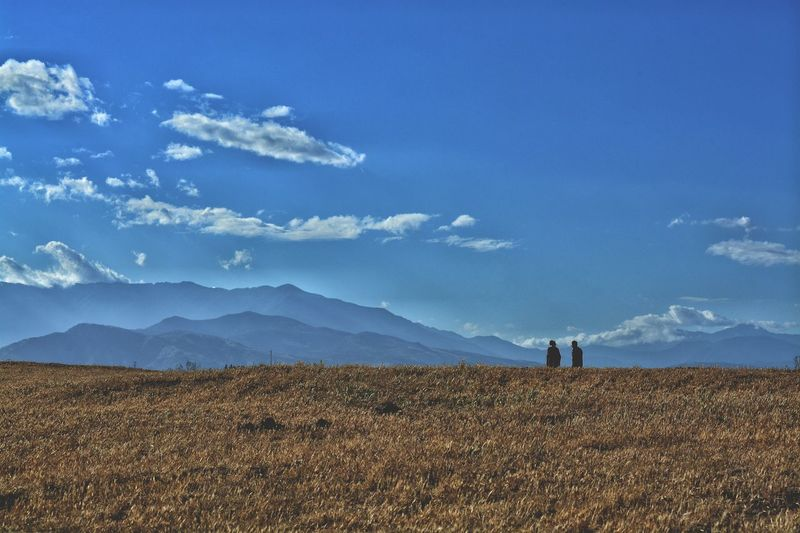 friends EyeEmNewHere EyeEm Best Shots EyeEm EyeEm Gallery Mood Chile Vintage Walking Walk Mountain Sky Field Alone Highlights Highlands Lanscape Landscape_Collection Landscape Photography Frame Mountain Agriculture Rural Scene Blue Sky Landscape Mountain Range Snowcapped Mountain Farmer Hiker Rocky Mountains