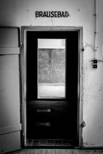 """Brausebad"" means ""Shower"" in german. Dachau 2017. Bavaria Blackandwhite Brausebad Concentrationcamp Dachau Door Gas Germany Holocaust Jews Memory Shower Zyklon B"
