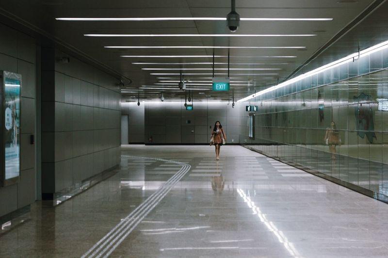 Underground walkway in subway station