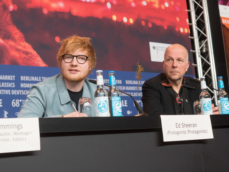 Berlin, Germany - February 23, 2018: English singer, songwriter, guitarist Ed Sheeran and host Anatol Weber attend the 'Songwriter' press conference at 68th Berlinale 2018 Ed Sheeran Famous Film Festival Interview Premiere Press Singer  The Media Anatol Weber Berlinale Berlinale 2018 Berlinale Festival Berlinale2018 Berlinale68 Documentary Film Edsheeran Festival Film Industry Frontal View Mass Media Men Musician People Press Conference Songwriter