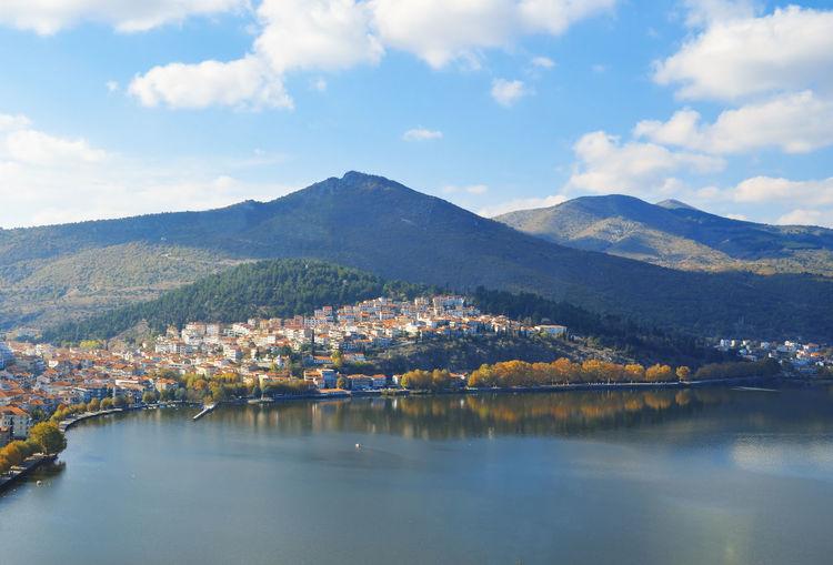 Autumnal view of kalithea district at kastoria ,greece