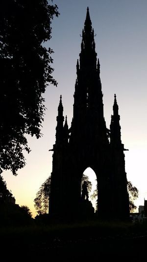 Edinburgh Scotland Scott Monument Architecture History Low Angle View Monument No People Outdoors Silhouette Sunset Travel Destinations Tree Uk