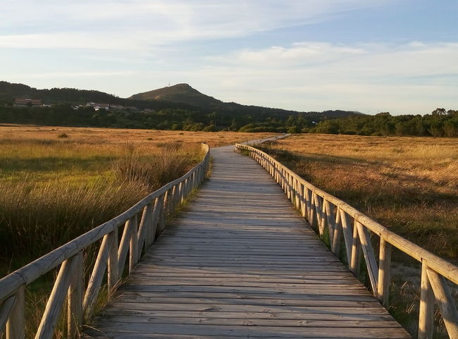 Beach Beauty In Nature Boardwalk Cloud - Sky Day Diminishing Perspective Duna De Corrubedo Galicia, Spain Grass Idyllic Landscape Mountain Nature No People Non-urban Scene Outdoors Plant Scenics Sky The Way Forward Tranquil Scene Tranquility Vanishing Point Walkway Wood - Material