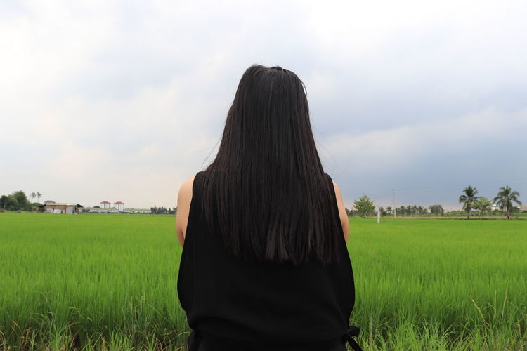 alone season!!!! Rain Green Color Rain Season Travel Rear View Human Back Grass Rice - Cereal Plant Rainy Season Back