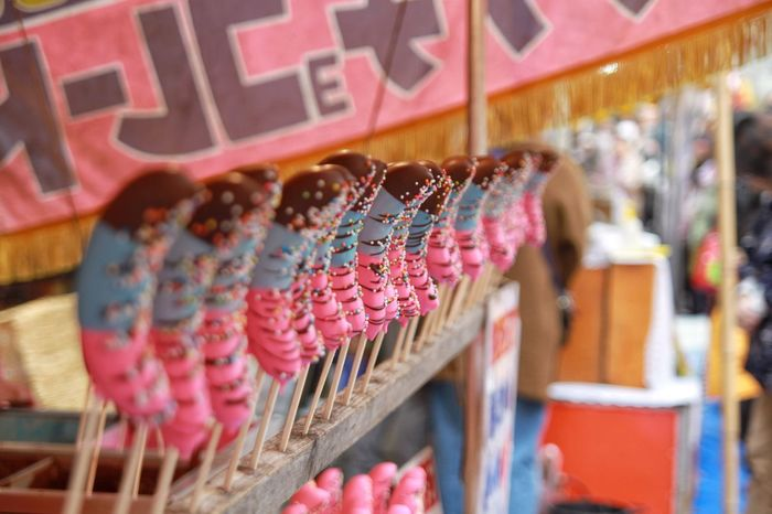 Banana Chocolate/バナナチョコ Hanging Variation No People Large Group Of Objects For Sale Close-up Day Outdoors Canon EOS 7D in Senzoku Tokyo Japan