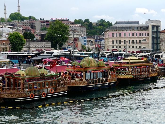 Eminönü Fisherman's Wharf Fishing Village Boats Tradition Multi Colored City People Transportation Water Nautical Vessel Building Exterior Fishermanswharf Fisher Boats Golden Historic Vintage 1001 Night Traditional Boats Lifestyles