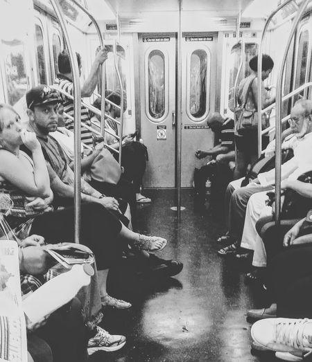 Riding the subway, NYC. On The Way Subway Subway People Subwayphotography Subwayphoto_bw Subwaynyc