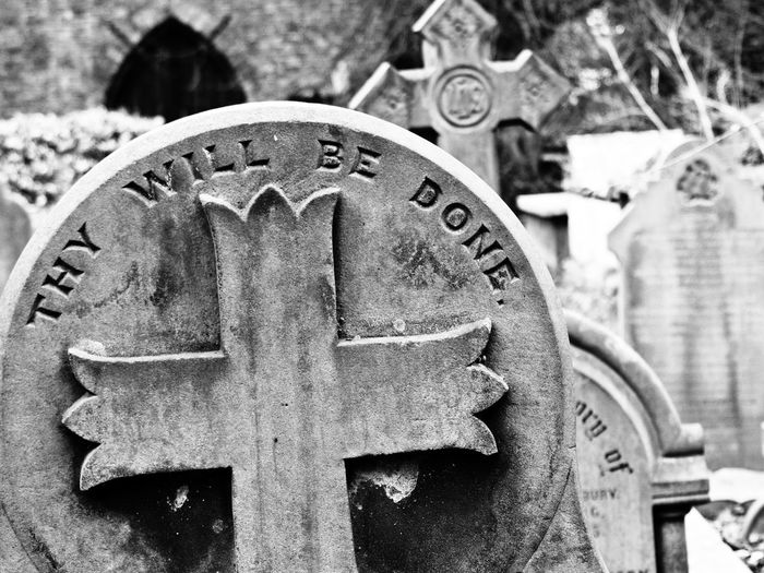 Thy Will be Done Cemetery Church Cross Grave Thy Will Be Done Black And White Churchyard Gravestone Graveyard Religion