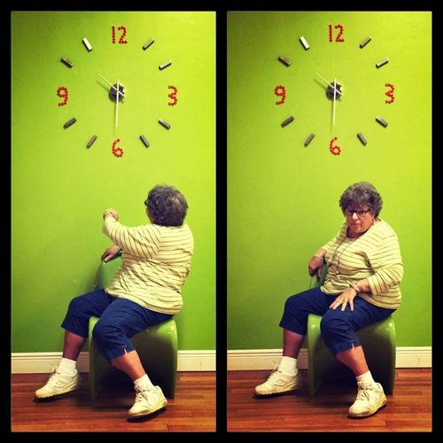 Time sneaks up on you… Clock Watch Green Contemplating Bright Colors Taking Photos