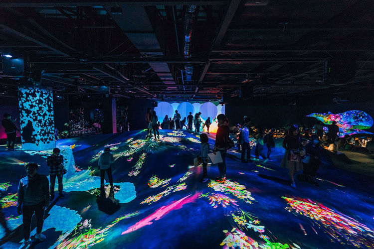 Real People Group Of People Crowd Large Group Of People Women Men Illuminated Lifestyles Adult Night Architecture Arts Culture And Entertainment Leisure Activity Indoors  Built Structure Enjoyment Motion High Angle View Celebration Ceiling Stage Nightlife TeamLabBorderless TeamLab