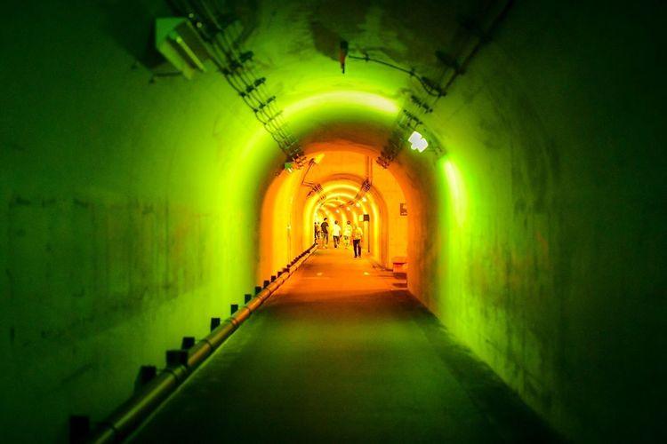 冷静と情熱の境界って、ある意味、こんな感じなのかしら? Orange Color Illuminated Direction Diminishing Perspective The Way Forward Architecture Indoors  Arch Lighting Equipment Built Structure Corridor Tunnel Arcade vanishing point Building Green Color Light