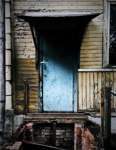 Old door abandoned building