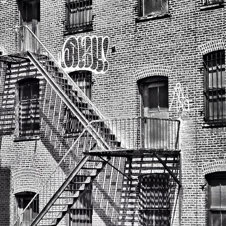 The Exits are Here and Here Newyork Metal NYC Apartments Graffiti Highline Steel Unitedstates Blackandwhite Fireescape Art Newyorkstate Fire Pictapgo Glass Pictapgoapp Thehighline Window NY Walkabout Brick USA Escape