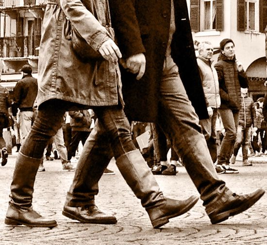 Hands Walking On The Street Passi Spending Time Together