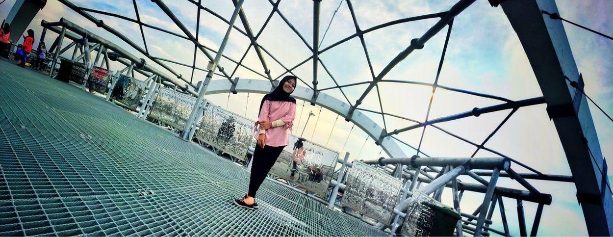 View of Jembatansurabaya , Surabaya Surabaya City Exploresurabaya Bridge Girl Panorama Panoramic Photography Panoramic Landscape Panoramic View Activity Women One Person One Woman Only Jembatankenjeran Kenjeran