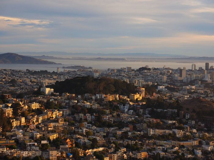 Sweeping views of San Francisco And the bay Urban Population Urban Park Coastal Angel Island Vista San Francisco Bay San Francisco Buena Vista Park Cityscape City Architecture Sky No People Sunset Outdoors Mountain Cloud - Sky Urban Skyline