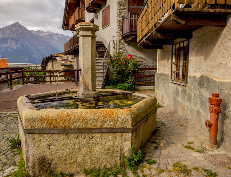 Piedmont Italy Spring Water Travelling Building Exterior Mountain Mountain Village No People Old Fountain