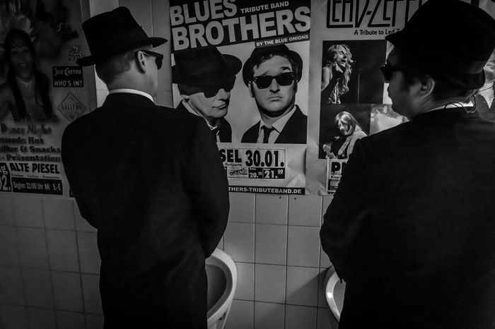 2 minutes before hitting the stage Blues Blues Brothers Concert Fedora  Film Noir Style Only Men Poster Show Suites Sunglasses Urinal Urinals