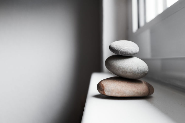 Zen @ Home Pebble Stack Rock Stone Solid Zen-like Stone - Object No People Balance Indoors  Rock - Object Close-up Order Still Life Simplicity Table Gray Arrangement Focus On Foreground Nature Zen