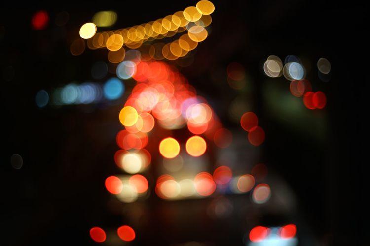 Defocused image of illuminated lighting equipment