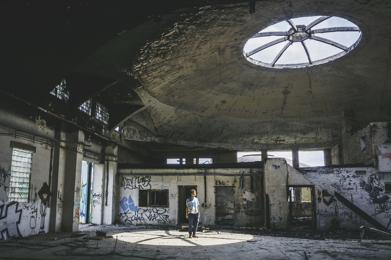 Man standing at abandoned place