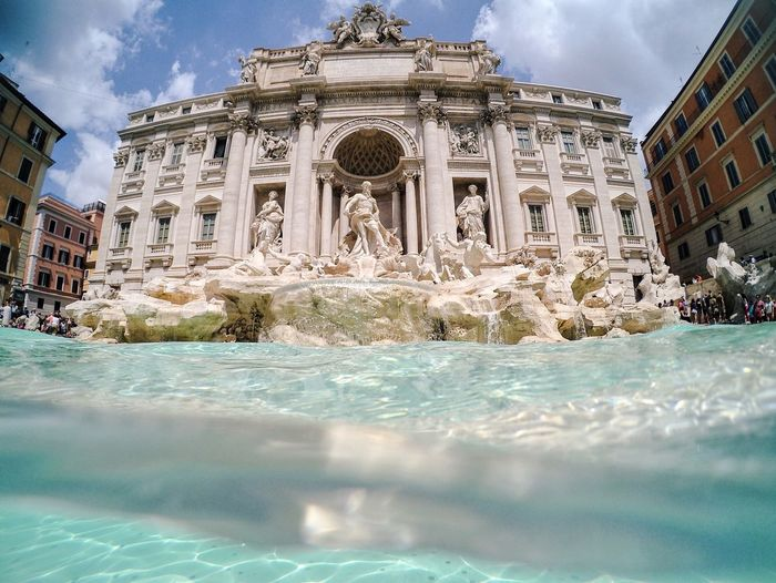 Water Surface View Of Trevi Fountain
