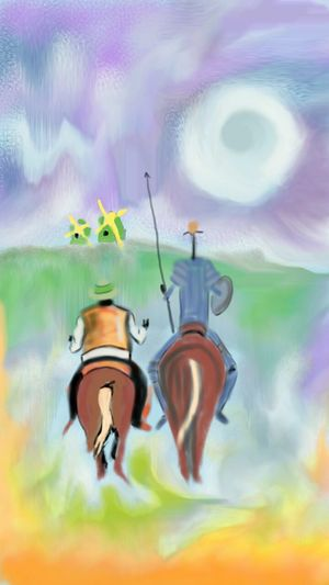TO DREAM THE IMPOSSIBLE DREAM DON QUIXOTE Soul Searching Windmill DonQuixote Digital Art Mysketch Journey Into The Light Dreams Impossiblefeats Photooftheday Digitaldrawing