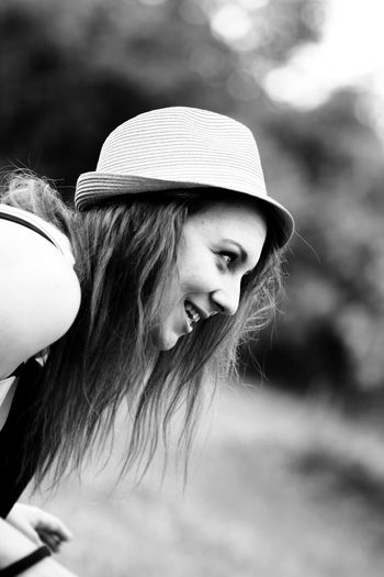 Adults Only Beautiful People Beautiful Woman Beauty Close-up Headwear Long Hair One Woman Only Outdoors Portrait Smiling Young Adult Young Women