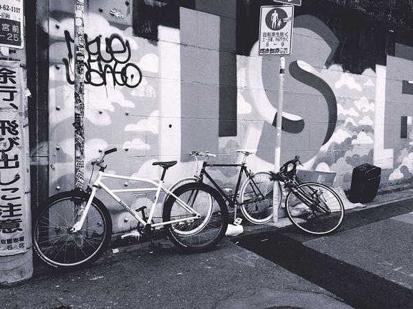 Streetphotography Streetphoto_bw Streetart Graffiti Street Blackandwhite Bike Sticker Art Japan