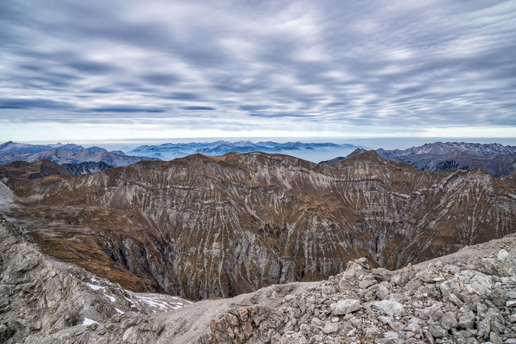 Autumn in the mountains Cloud - Sky Scenics - Nature Mountain Beauty In Nature Sky Environment Non-urban Scene No People Nature Tranquil Scene Landscape Mountain Range Day Tranquility Rock Geology Rock - Object Outdoors Barren Arid Climate Formation Climate Autumn Tyrol Alps Austria