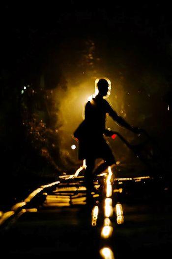 Silhouette Night Water Men People Full Length Adult