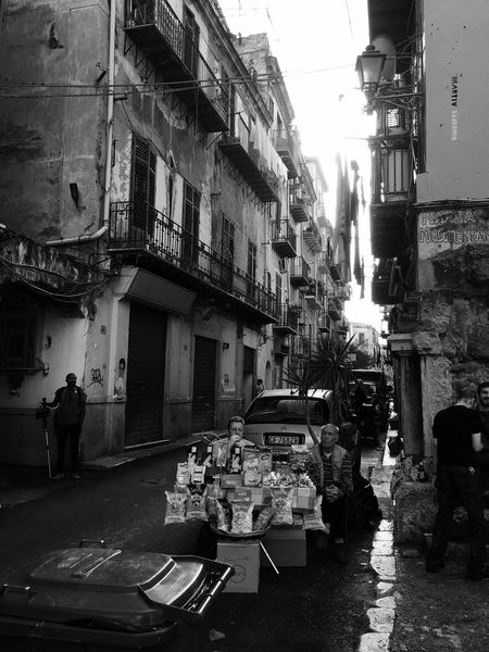 Palermo Ballaro' Sicily Street Vendors Old City Street Market Black And White Photography Welcome To Black Business Stories Small Business Heroes