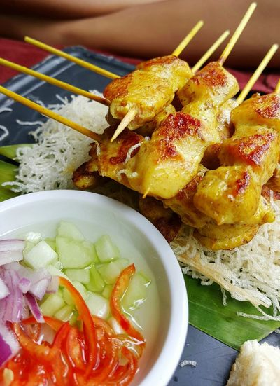 Food Healthy Eating Food And Drink Freshness Indoors  No People Plate Ready-to-eat Appetizer Close-up Visual Feast Comfort Food Cooked Gourmet Satay Sataychicken