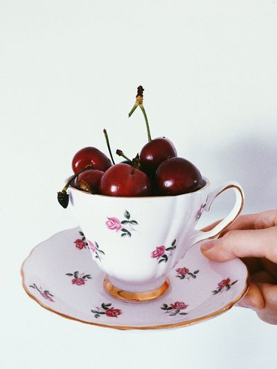Cup Tea Cherries Cherry Food Fruit Food And Drink Healthy Eating Freshness Wellbeing Indoors  Red Sweet Food No People Still Life Berry Fruit Sweet Dessert The Still Life Photographer - 2018 EyeEm Awards