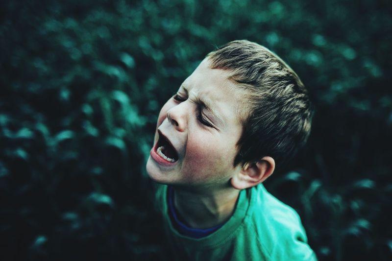 Side view portrait of a boy