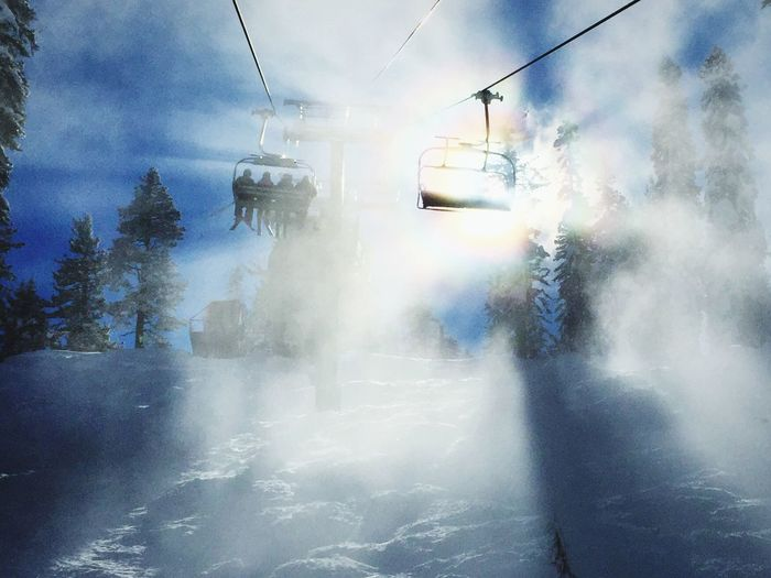 Chairway to Heaven Ski Resort  Ski Lift Northstar Truckee  Truckee, Ca Truckee Lake Tahoe California Lake Tahoe Skiing Snow Sunbeams Misty Mountains  Atmospheric Mood Foggy Mountains Iphonephotography IPhoneography Landscapes With WhiteWall Sunrays Sunrays_penetrating_clouds Sunrayspeekingthroughtheclouds