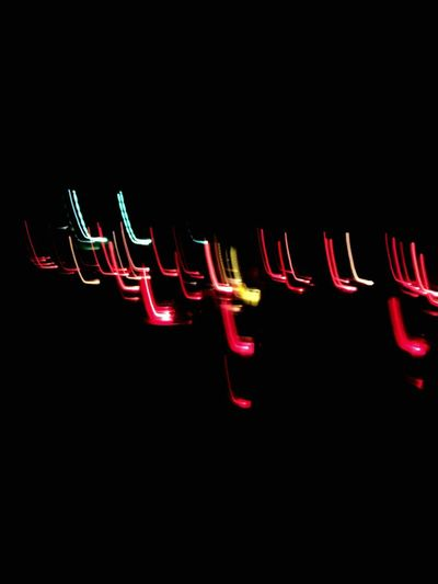 Lichtermeer Lights Illuminated Red Night Glowing Black Background No People