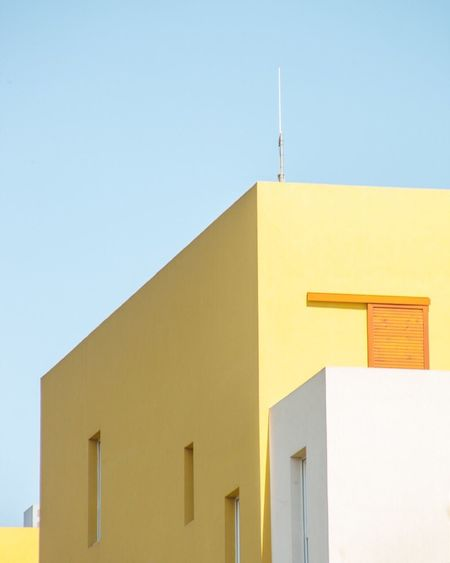 Abstract Architecture Building Exterior Yellow No People Clear Sky Day Photography Fine Art Photography Contemporary Art Geometric Shape Pastel Power Natural Light